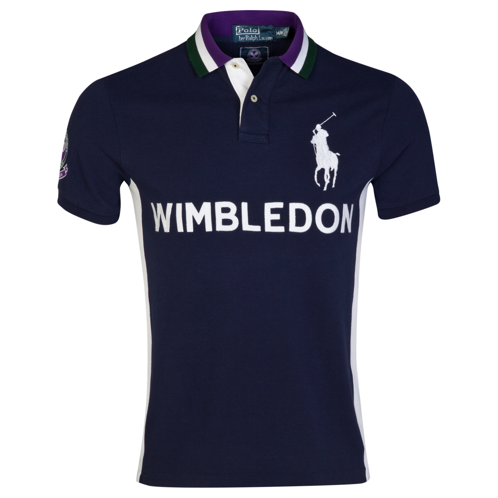 Wimbledon Polo Ralph Lauren Slim Fit Stripe Collar Polo - French Navy