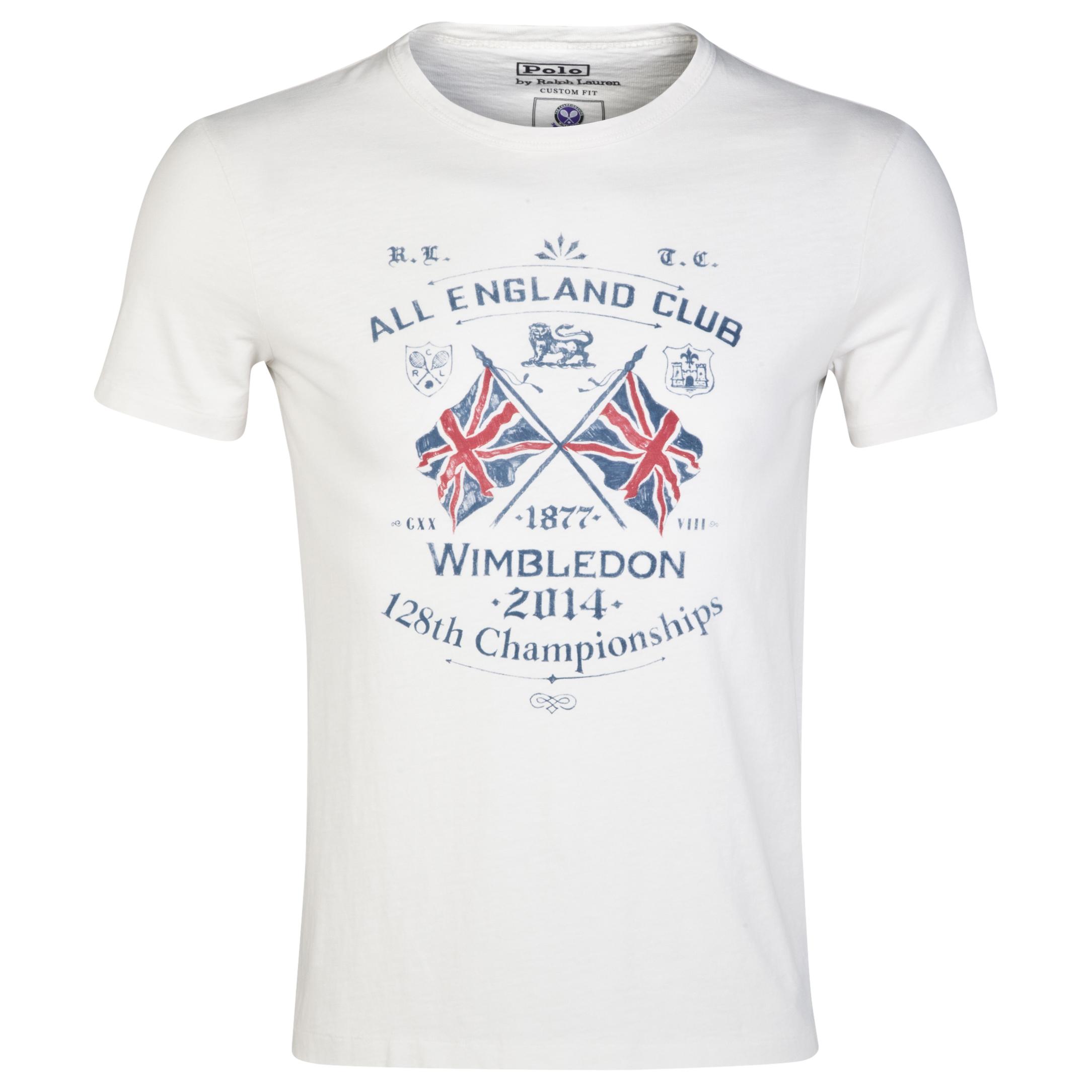 Wimbledon Polo Ralph Lauren Uneven Jersey Print T-Shirt - Deckwash White