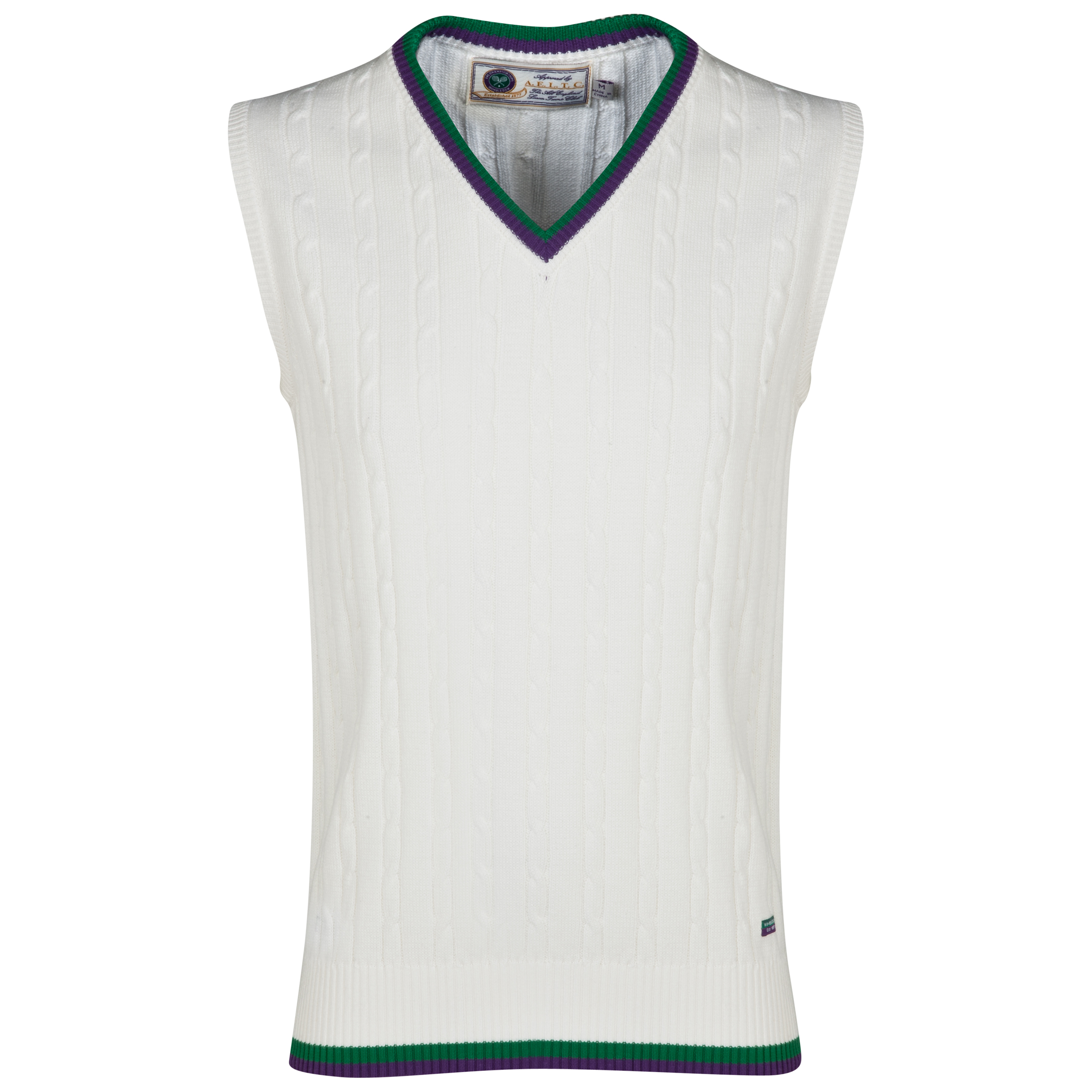 Wimbledon Men`s Cable Knit Slip-over Cream