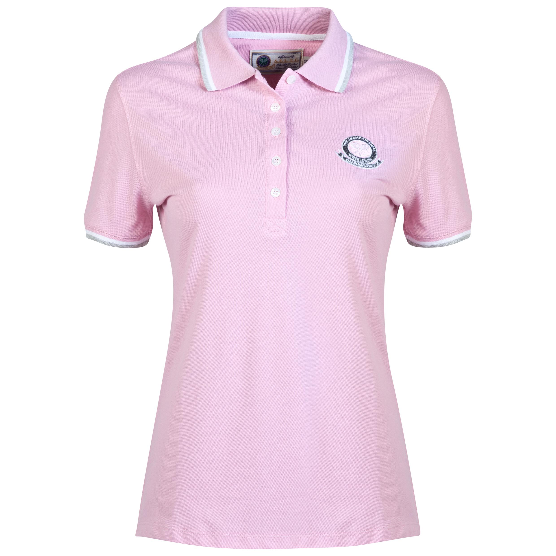Wimbledon Pique Logo Polo - Ladies Pink