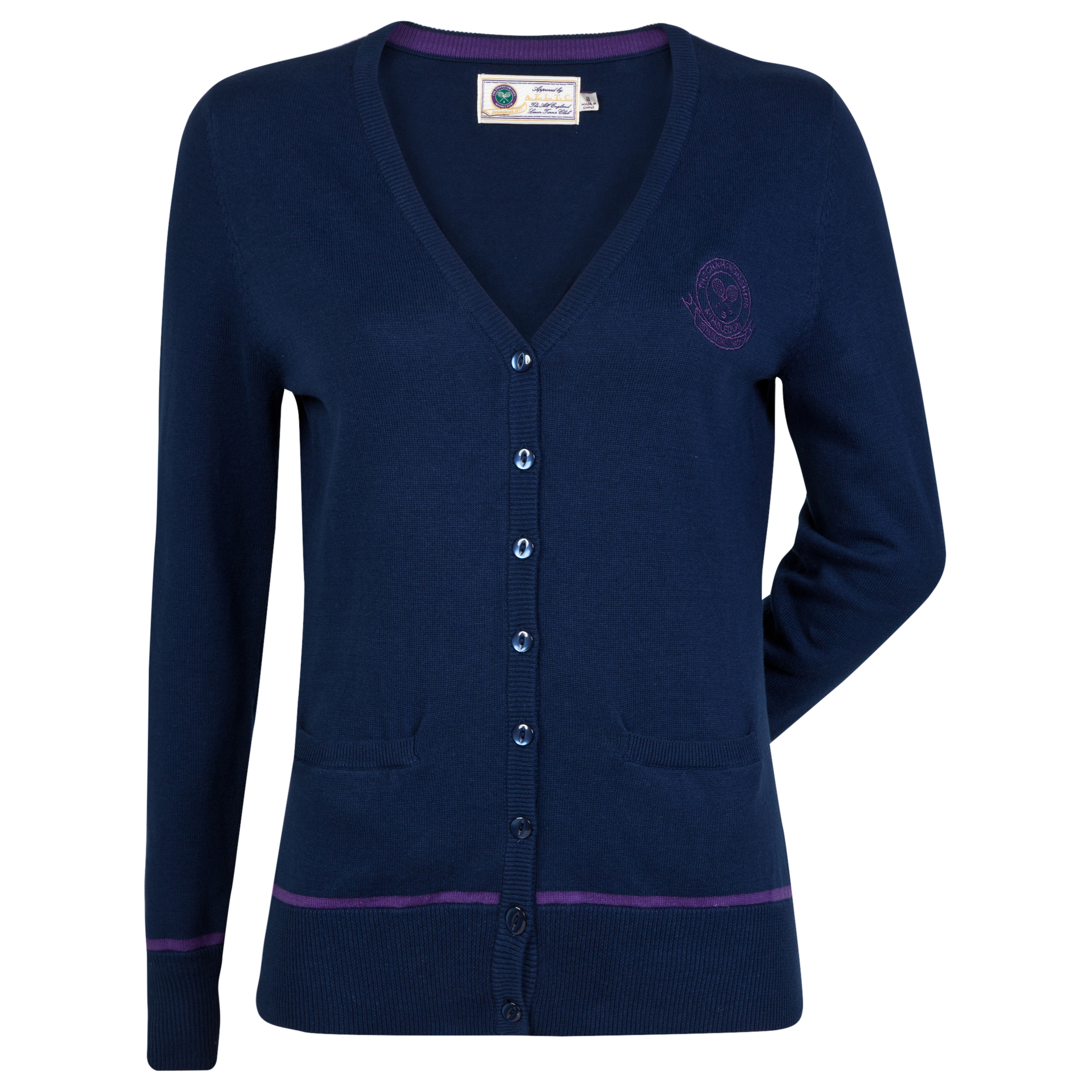 Wimbledon 12 Gauge Knitted Cardigan - Womens Navy