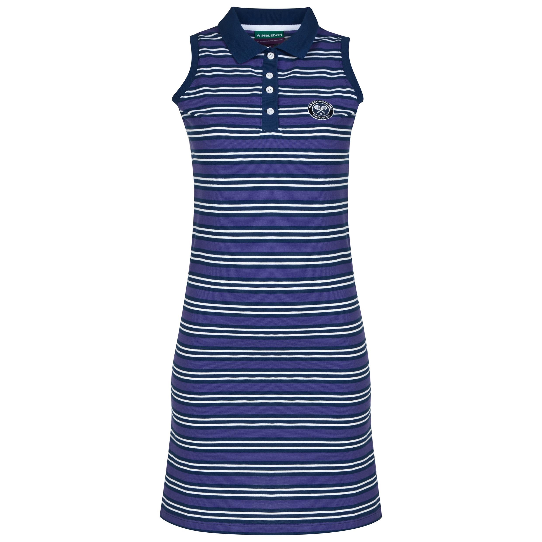 Wimbledon Stripe Pique Tennis Dress - Womens Navy
