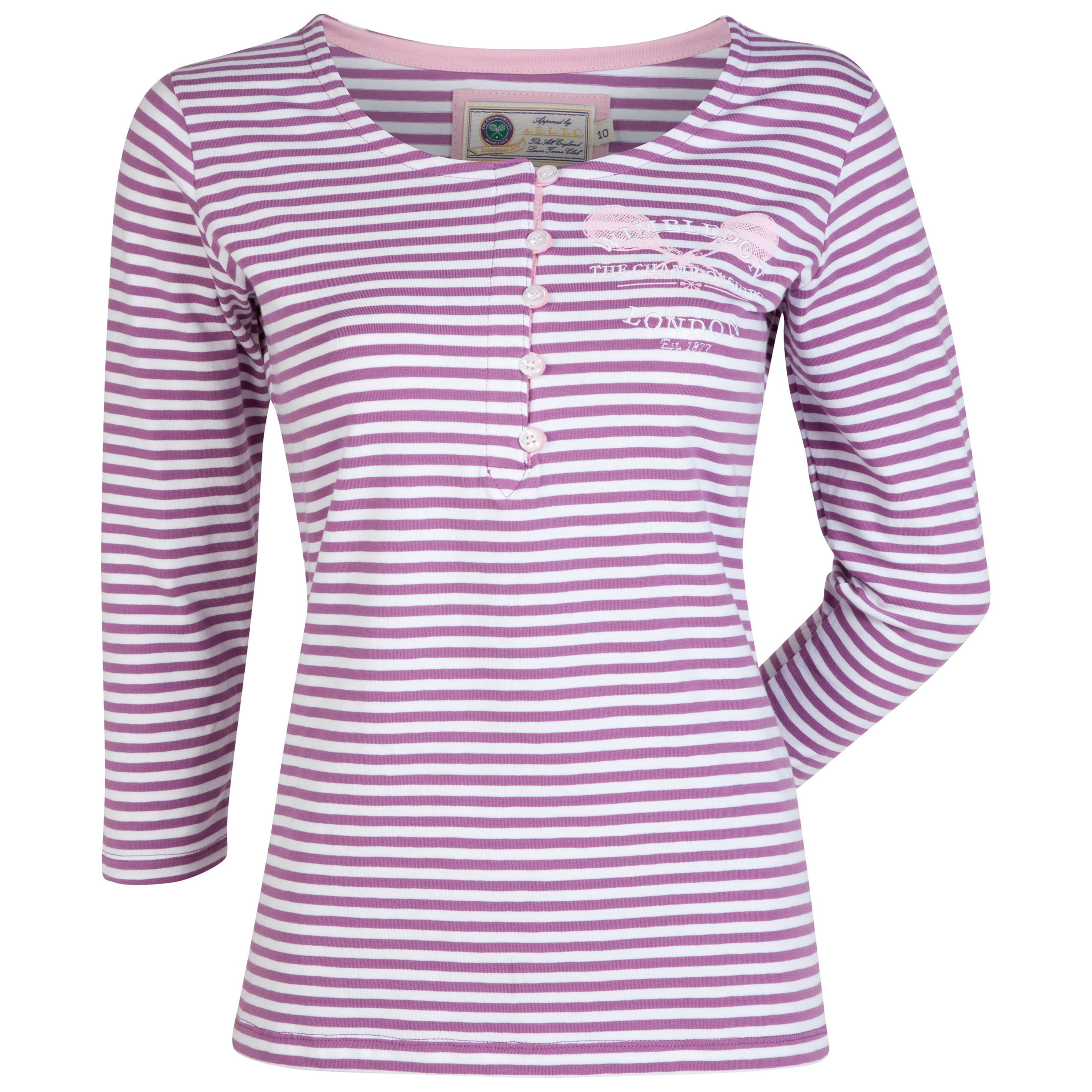 Wimbledon 3/4 Sleeve Striped T-Shirt - Womens