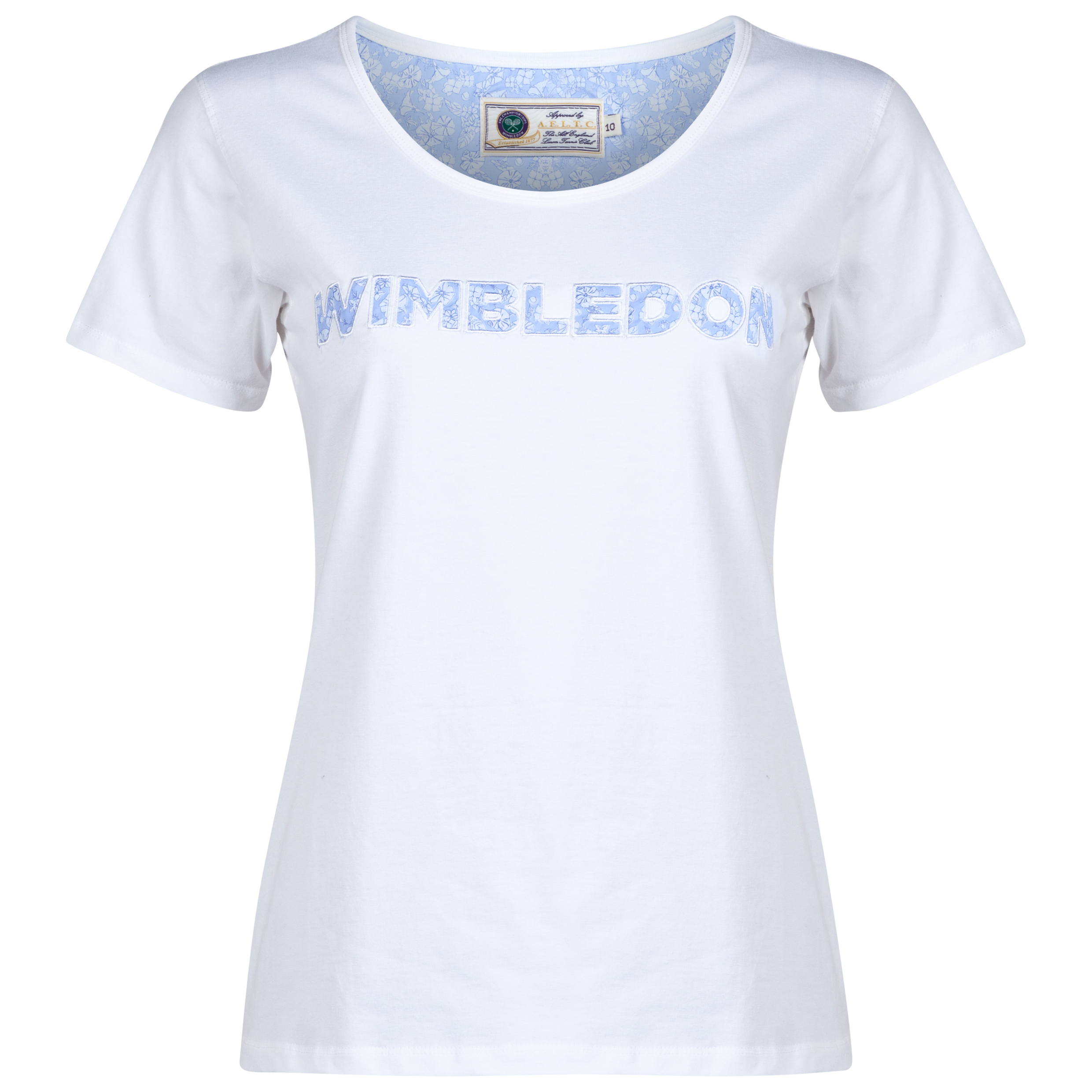 Wimbledon Floral Print Applique T-Shirt - Ladies White