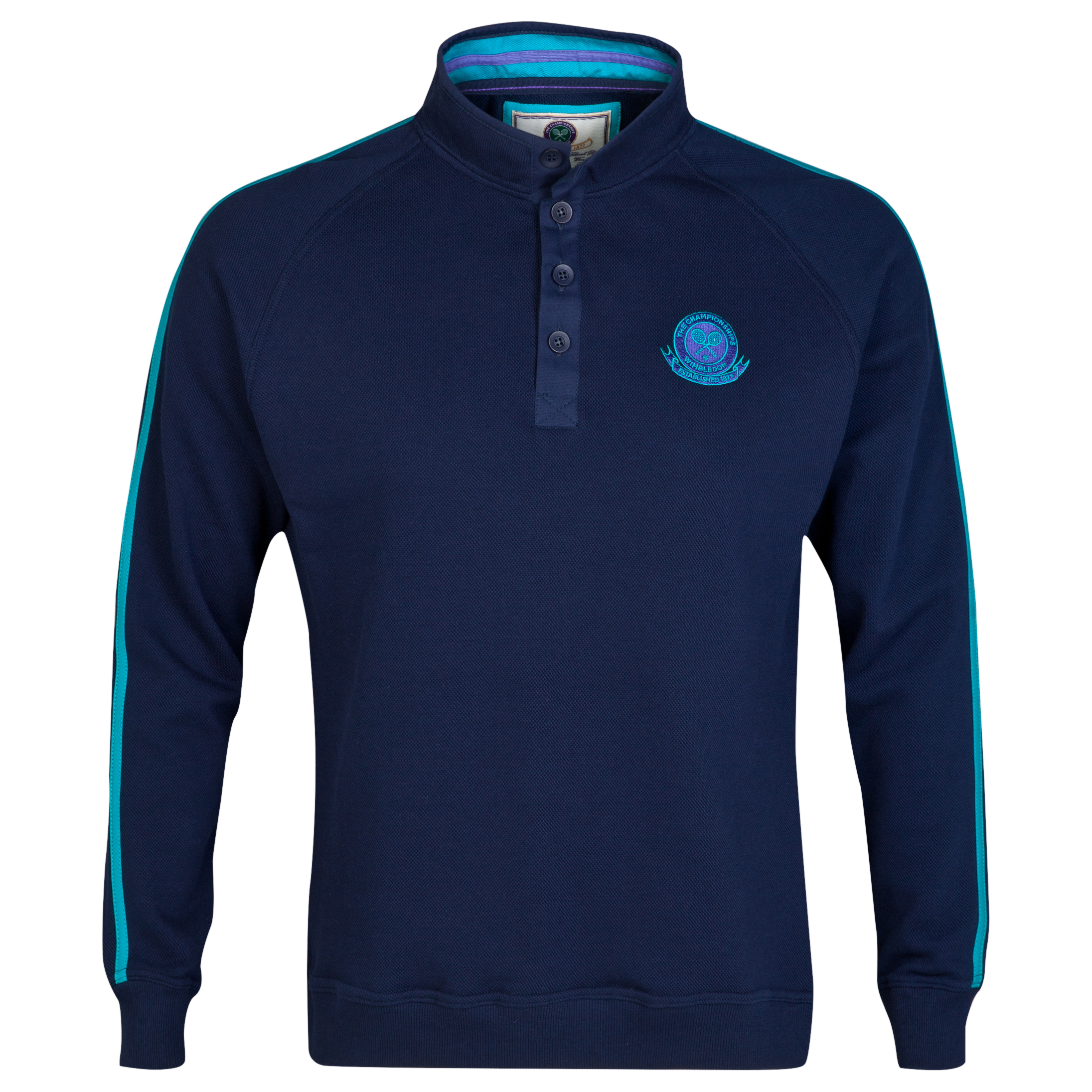 Wimbledon Long Sleeve Button Collar Sweatshirt Navy