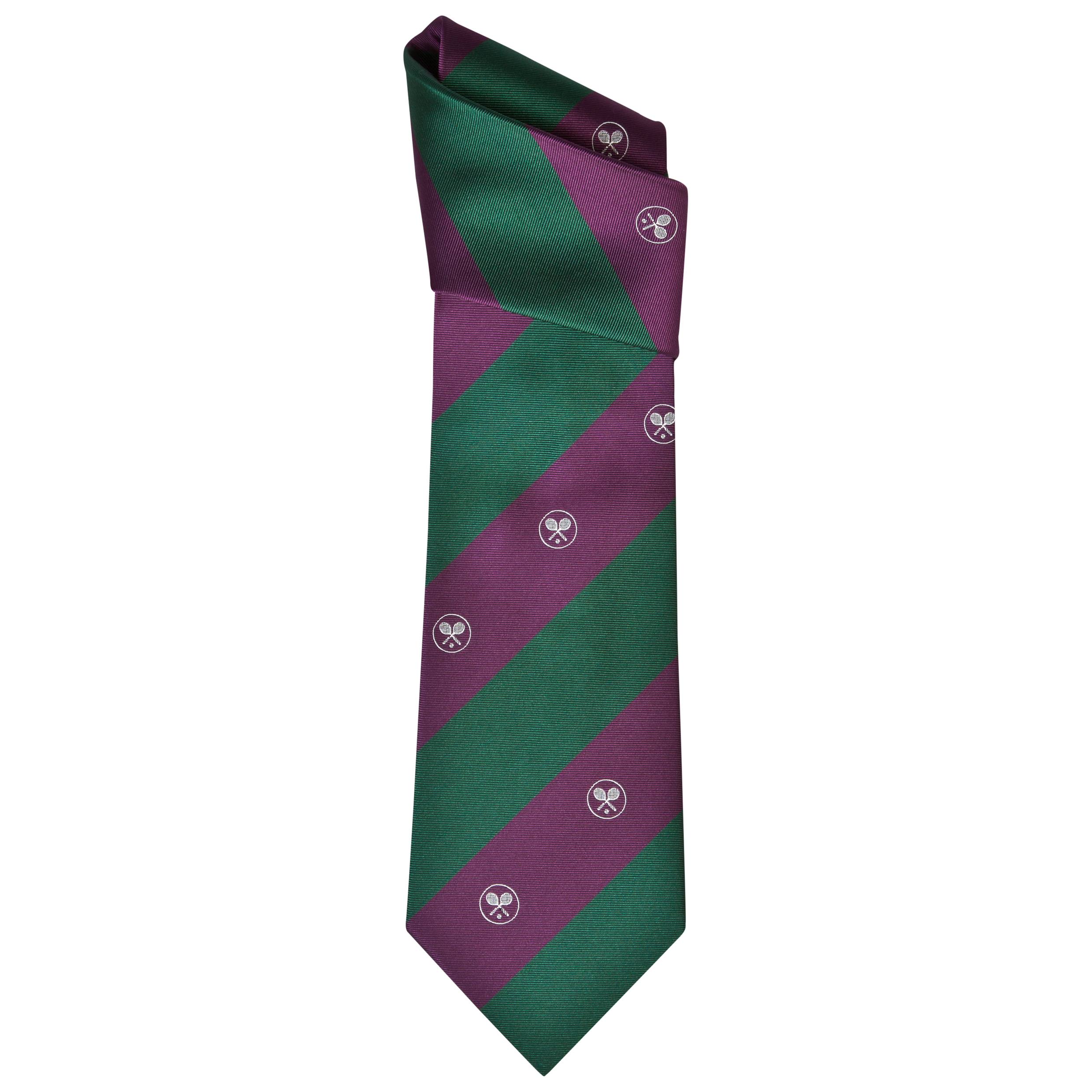 Wimbledon Tie Stripe and Crossed Rackets - Purple/Green