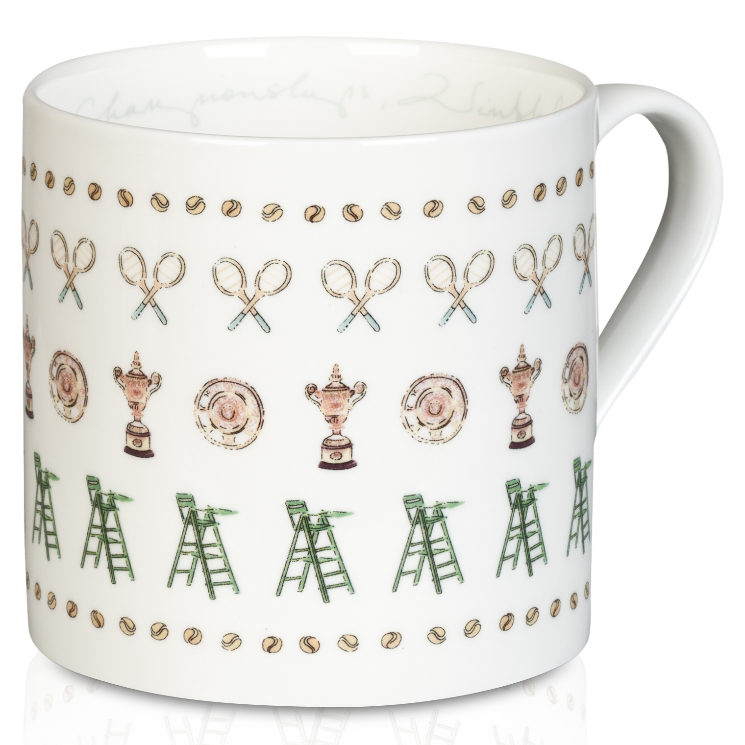 Wimbledon Mug With Umpire and Recket Design White