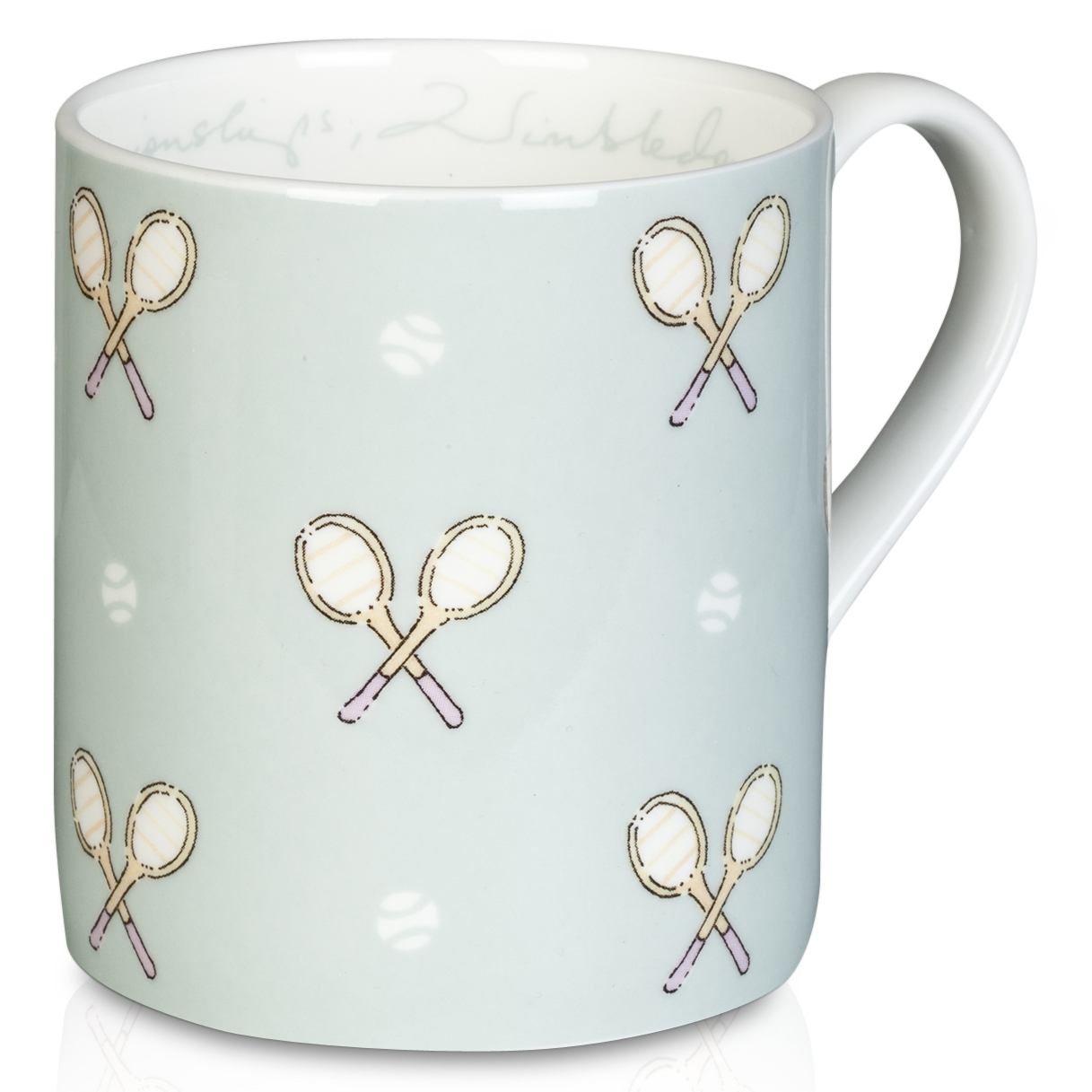 Wimbledon Mug With Classic Racket Design - Duck Egg