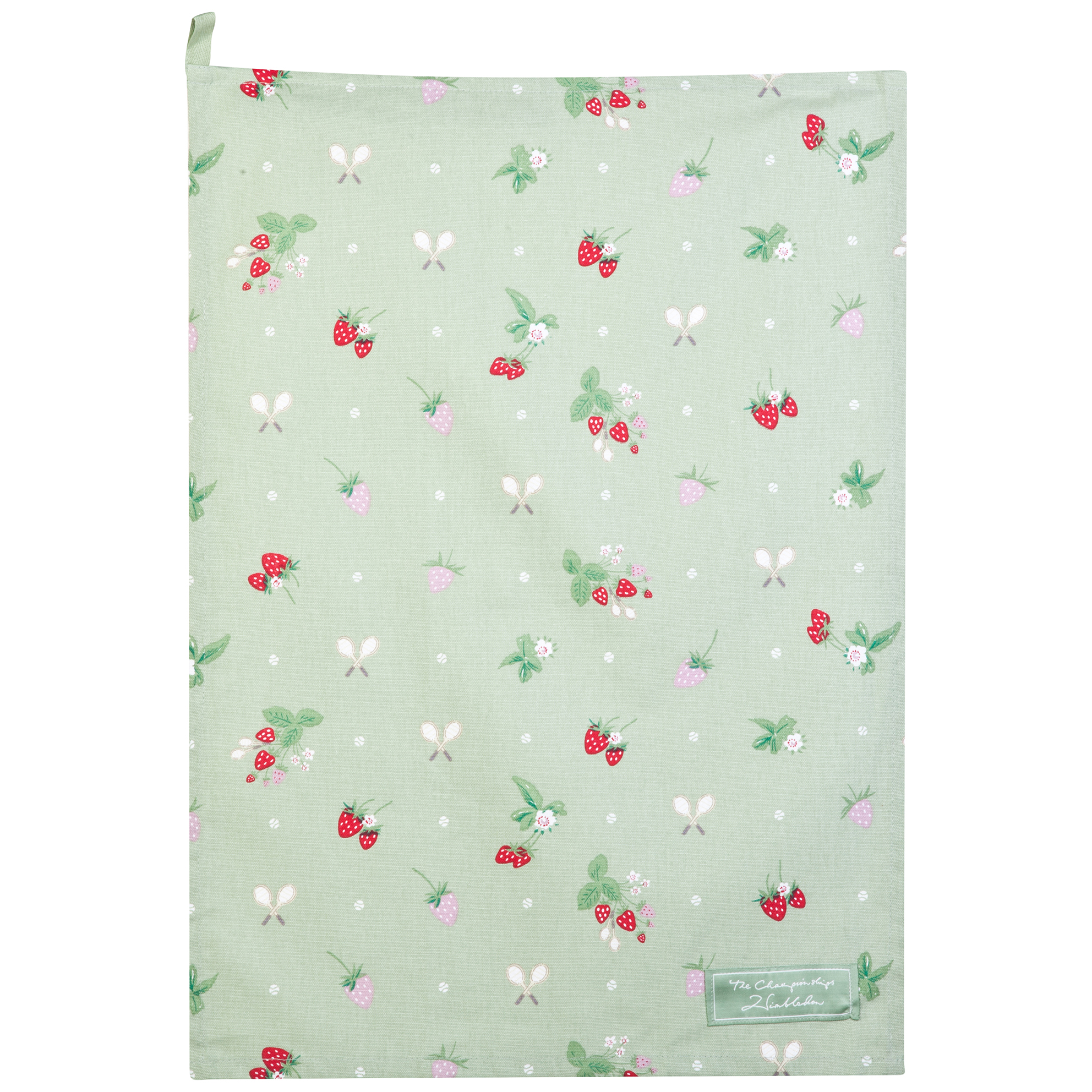 Wimbledon Tea Towel With Strawberries Design - Green