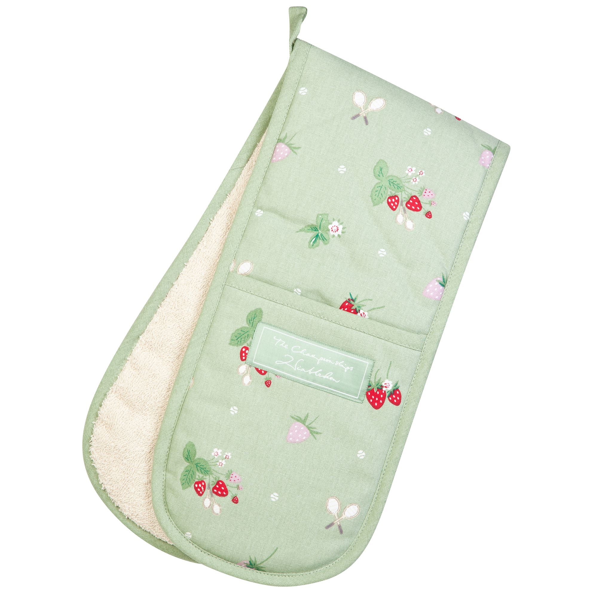 Wimbledon Oven Gloves With Strawberries Design - Green