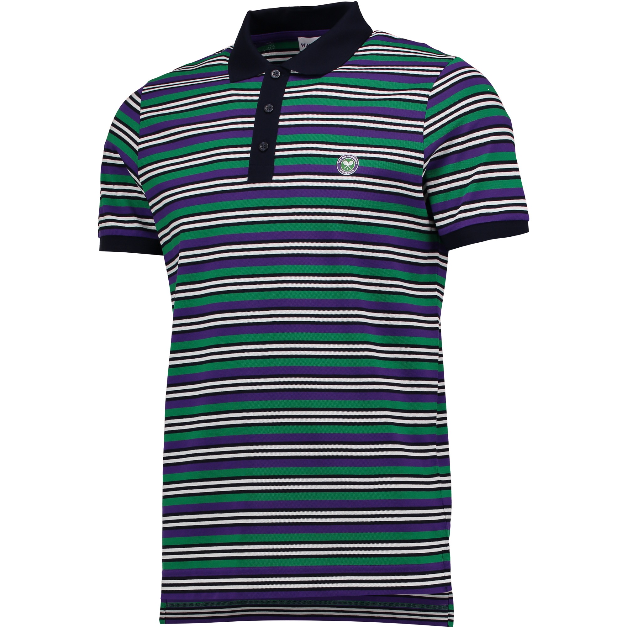 Wimbledon Contrast Stripe Polo Shirt - Midnight/Pansy