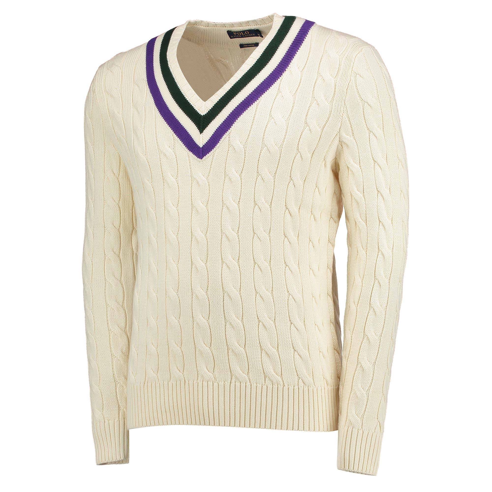 Wimbledon Ralph Lauren L/S V-Neck Sweatshirt - Cricket Cream