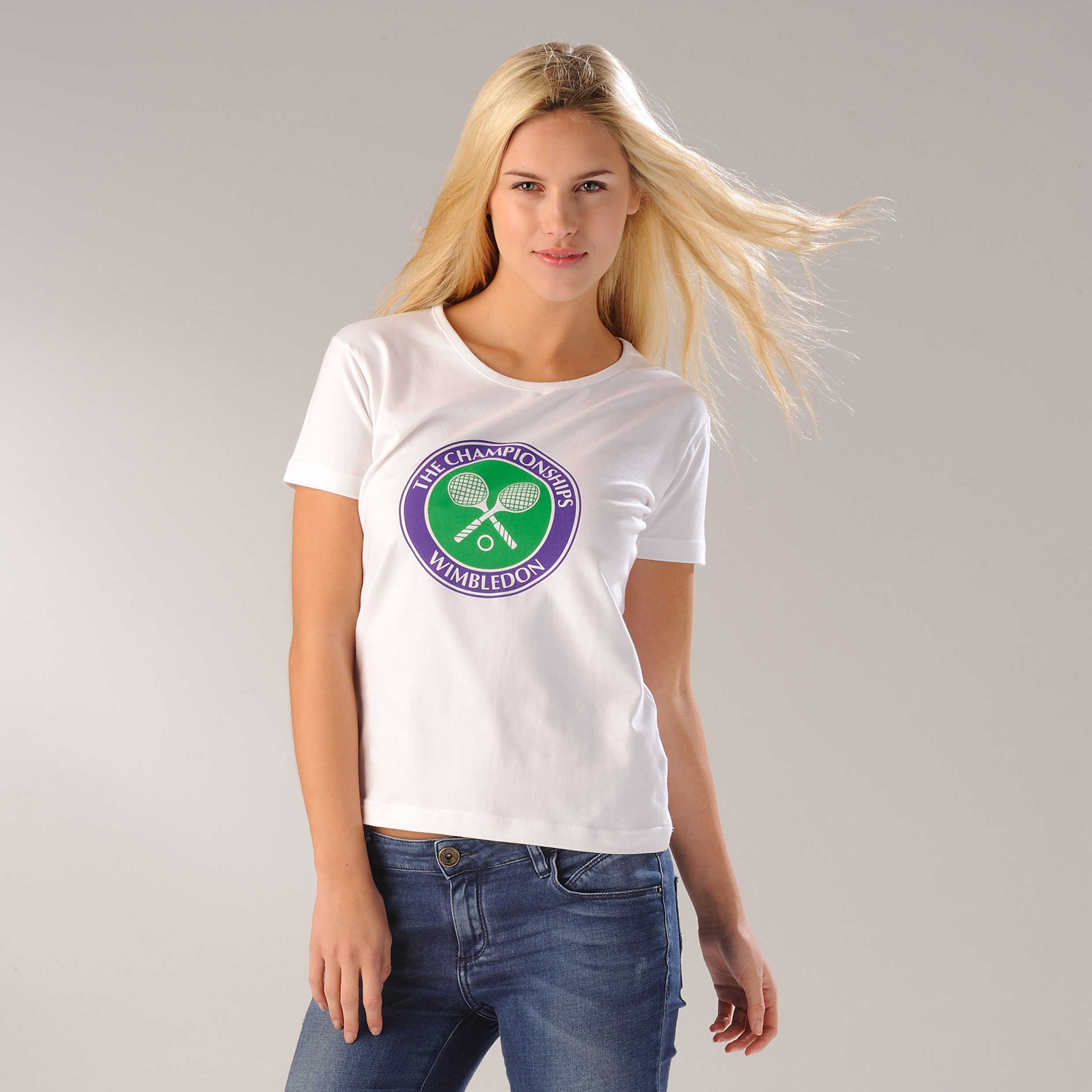 Wimbledon Crossed Rackets Print T-Shirt - White - Womens