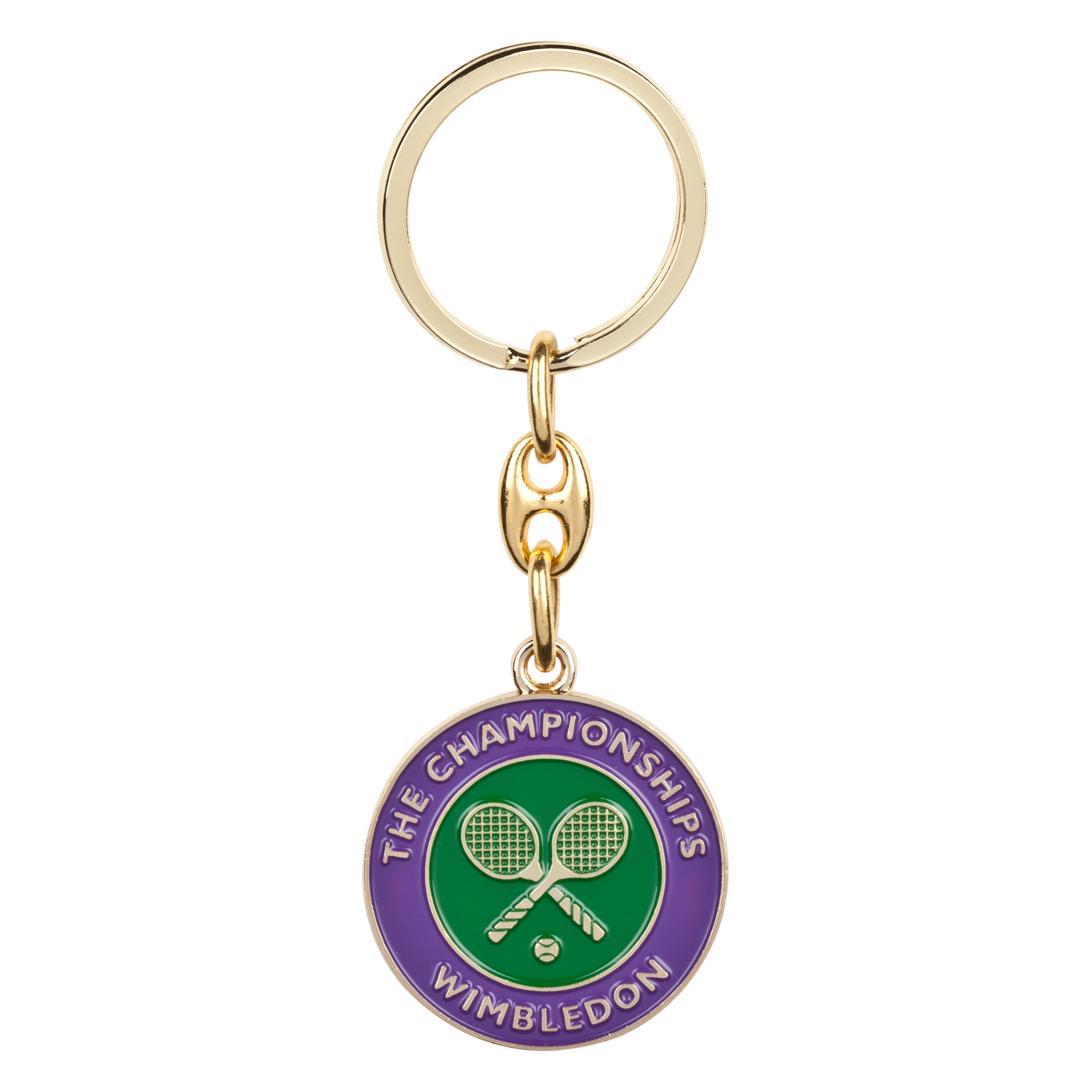 Wimbledon Tennis Ball Keyring - Gold