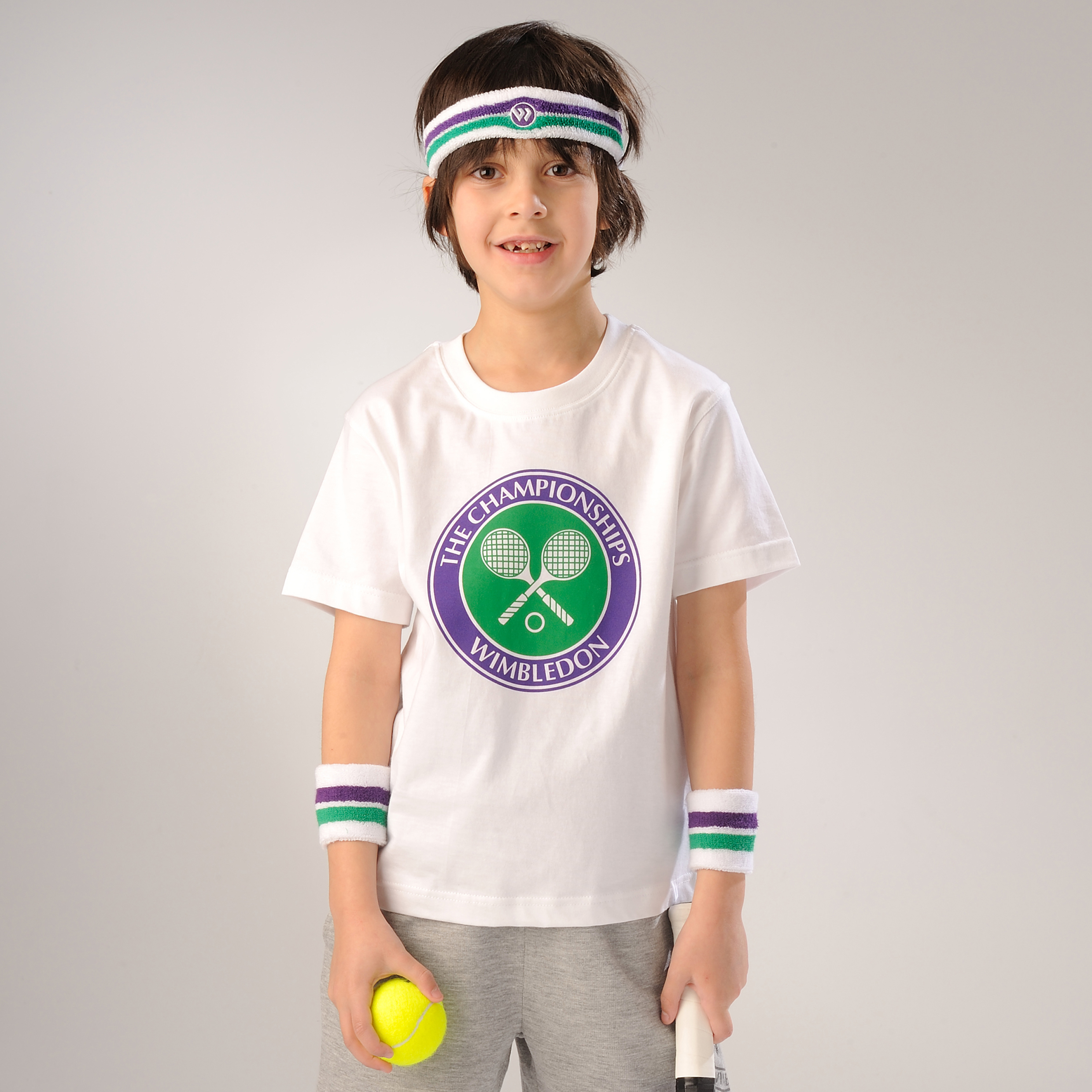 Wimbledon Crossed Rackets Print T-Shirt - White - Kids