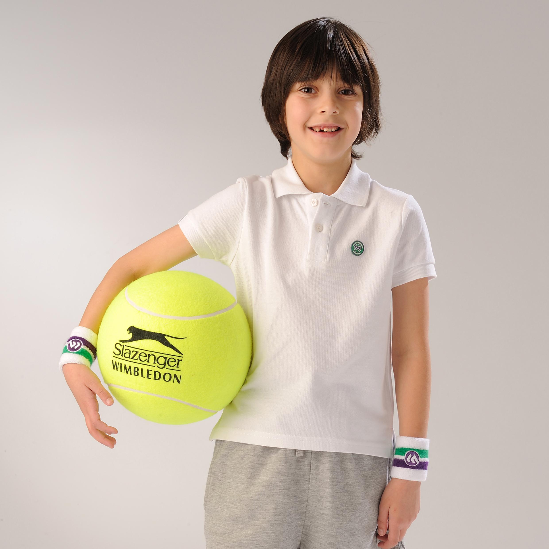 Wimbledon Pique Polo Shirt - White - Kids