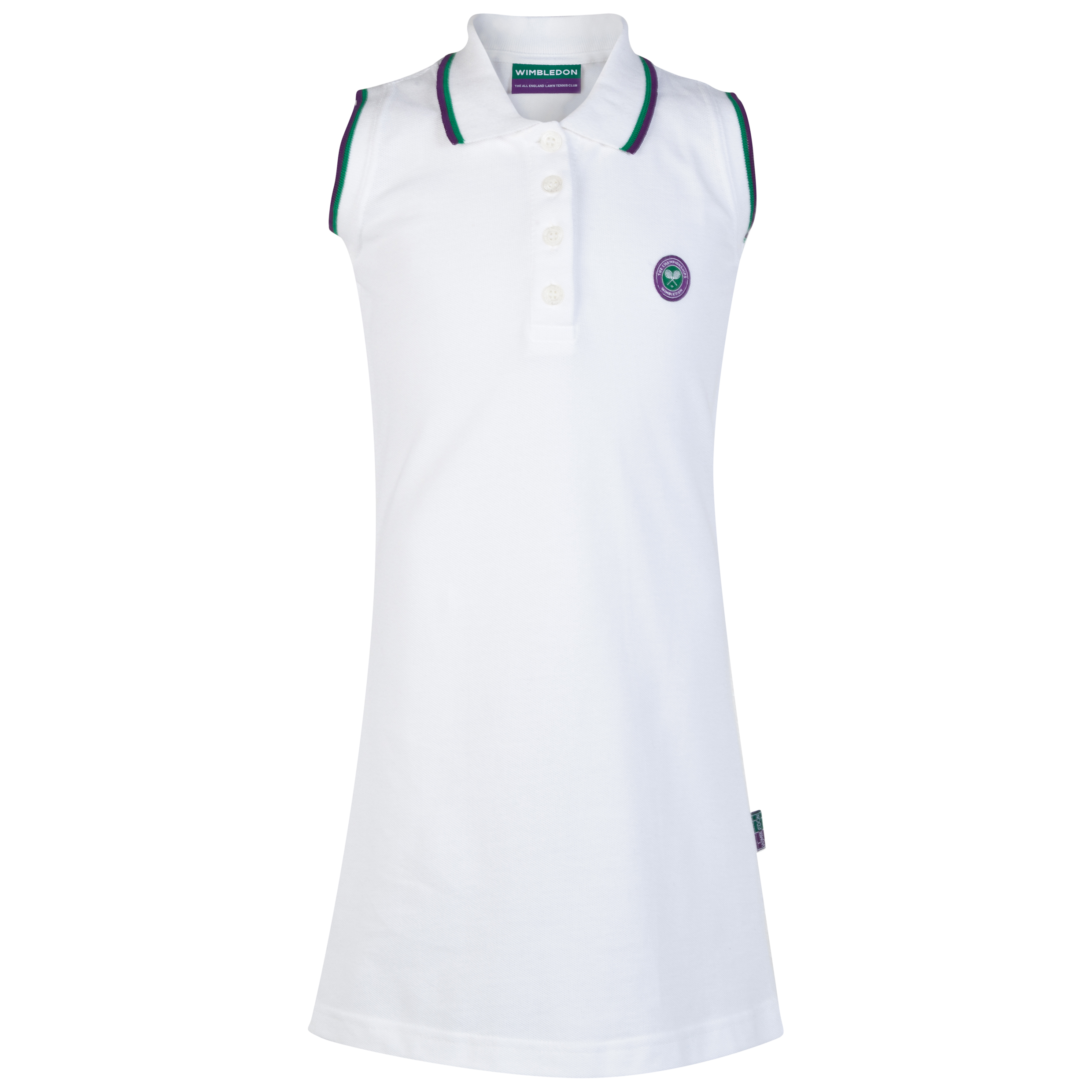 Wimbledon Pique Tennis Dress - White - Girls