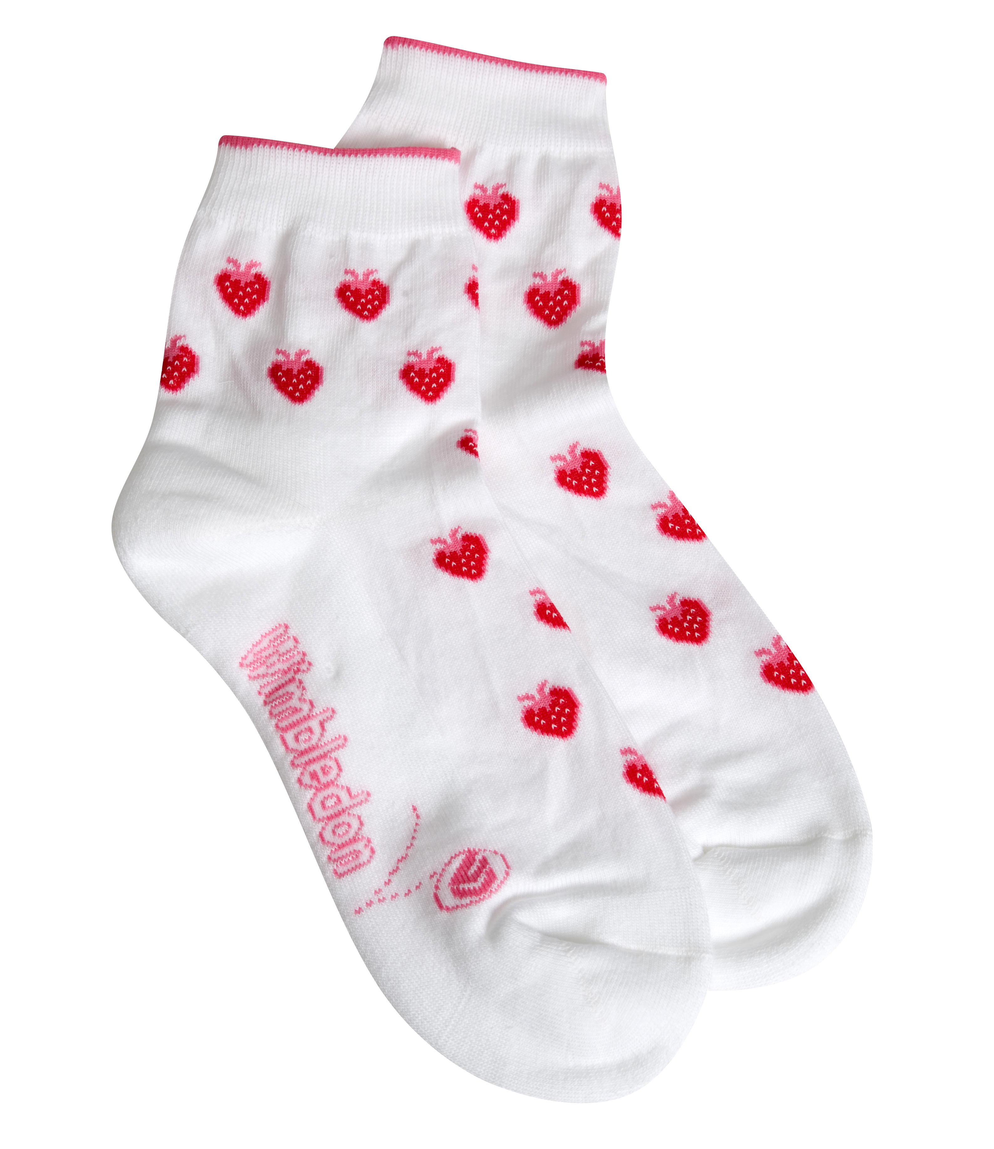 Wimbledon Strawberry Sock - White/Pink - Ladies