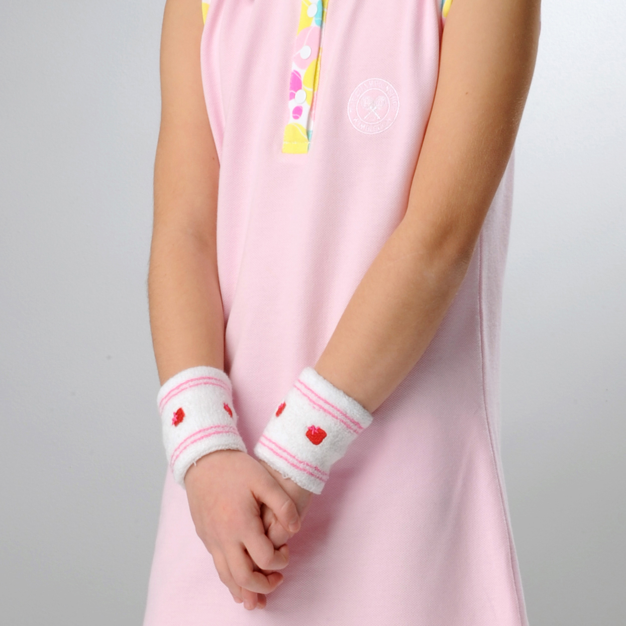 Wimbledon Strawberry Wristband - White/Pink - Girls