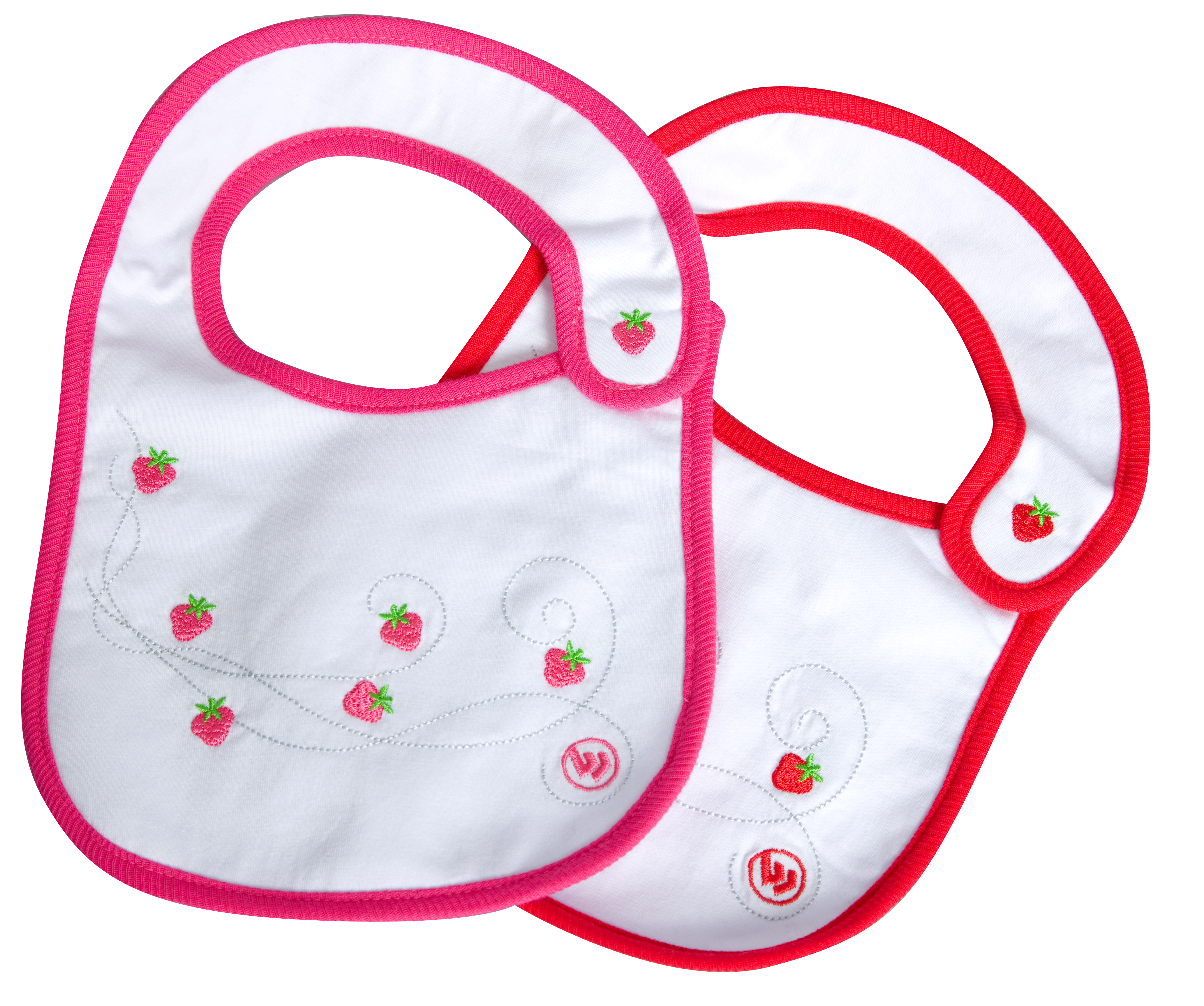 Wimbledon Strawberry Bib 2 Pack - White/Pink and White/Red - Girls