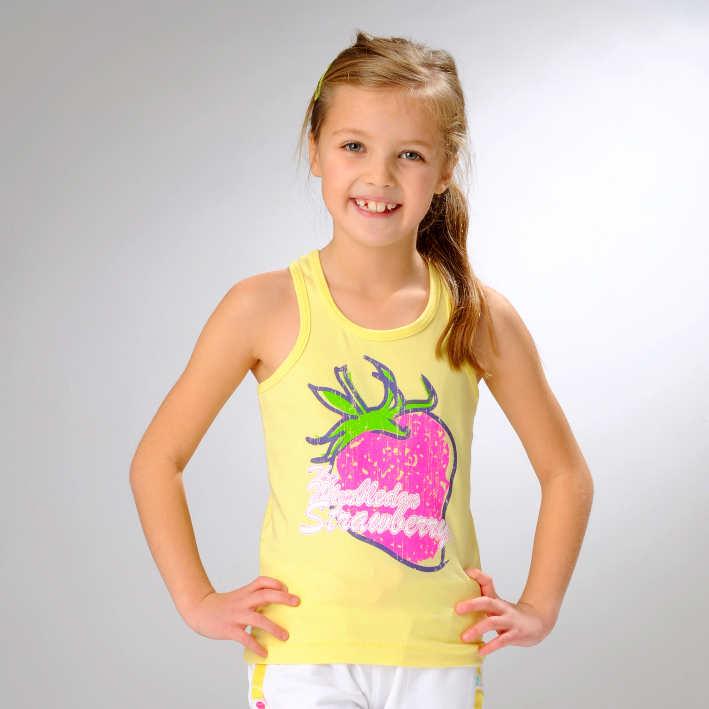 Wimbledon Strawberry Print Vest - Yellow - Girls