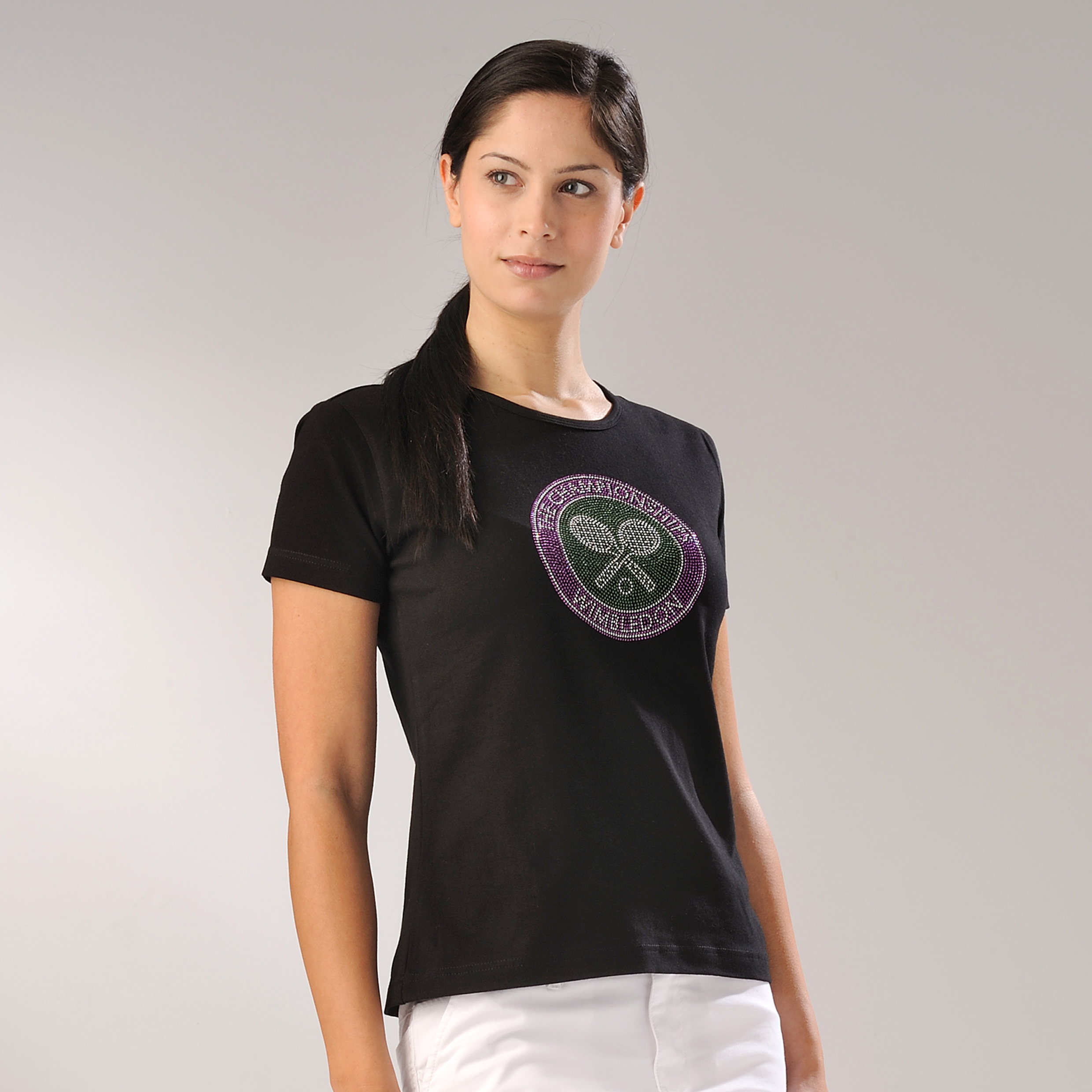 Wimbledon Rhinestone Crossed Rackets T-Shirt - Black - Womens