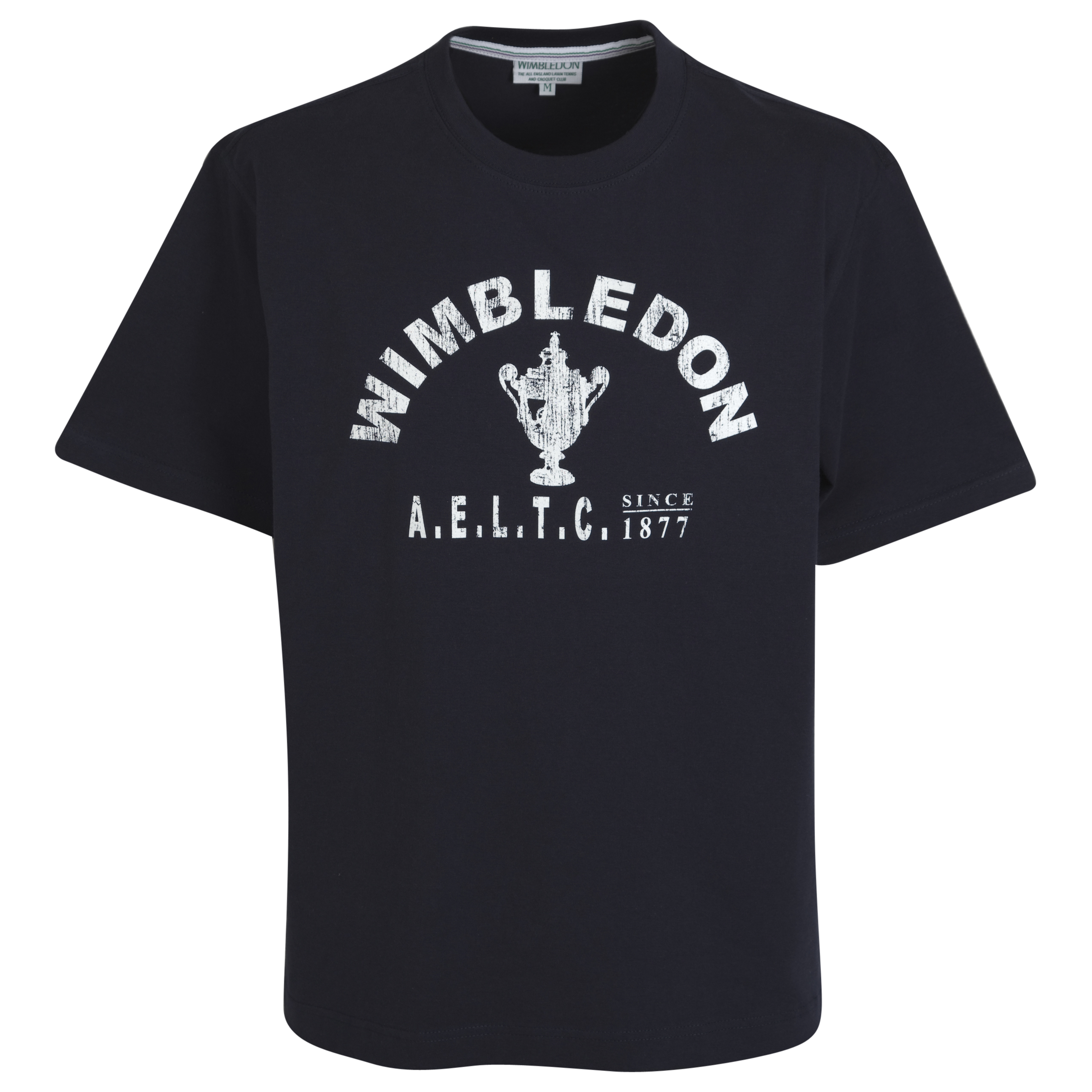 Wimbledon Distressed Trophy Print T-Shirt - Navy
